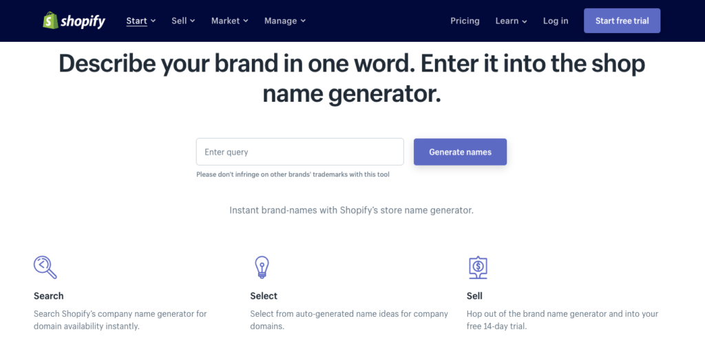 New Company Name Suggestions Free Shopify